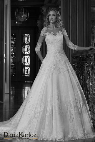 lace tulle wedding dress ball gown A-Line long sleeve