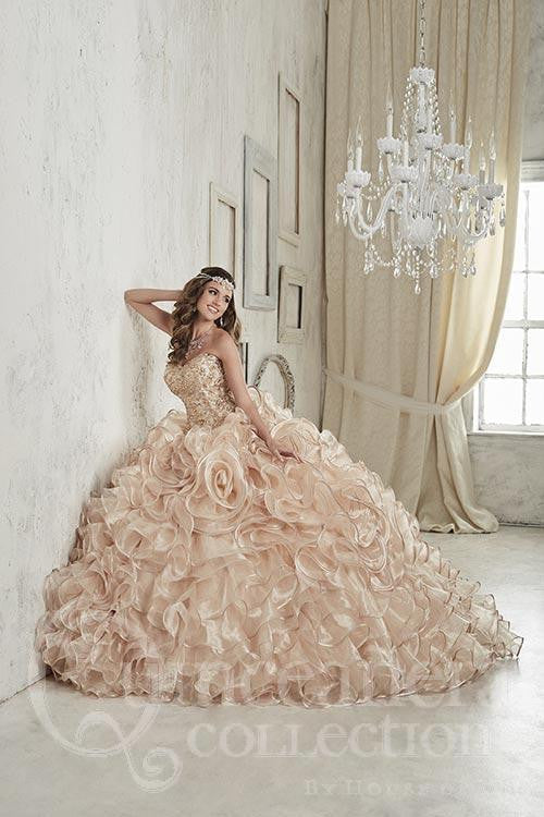 Beautiful quinceanera, sweet 16, engagement ball gown dress by House of Wu..