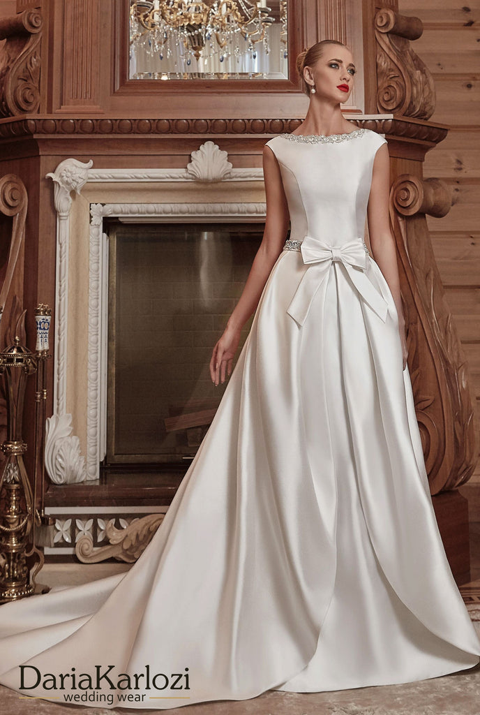 Ivory satin wedding dress ball A-line 2 piece