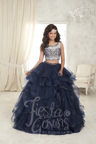 Beautiful Two Pieces quinceanera, sweet 16, engagement ball gown dress designed by House of Wu
