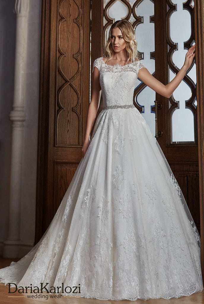 Ivory satin lace wedding dress ball gown A-line