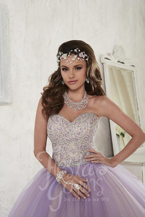 Beautiful quinceañera, sweet 16, engagement ball gown dress by designer House of Wu