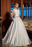 Ivory lace satin wedding dress ball gown A-Line