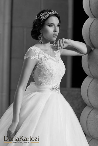 Lace tulle wedding dress ball gown A-Line