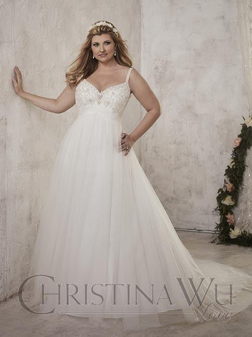 Beaded Plus size wedding dress lace ball gown