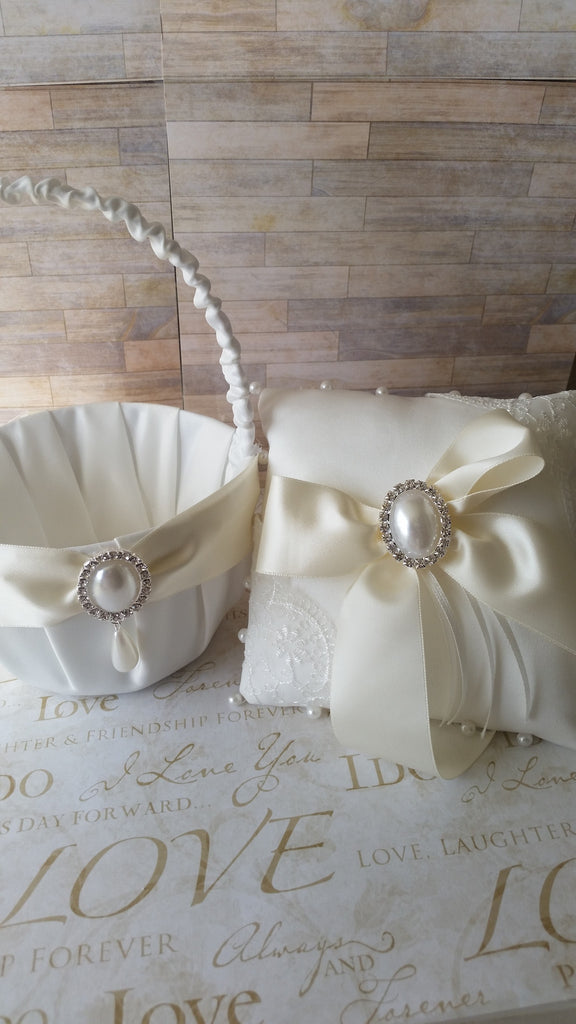 Wedding accessories flower girl basket & ring bearer pillow