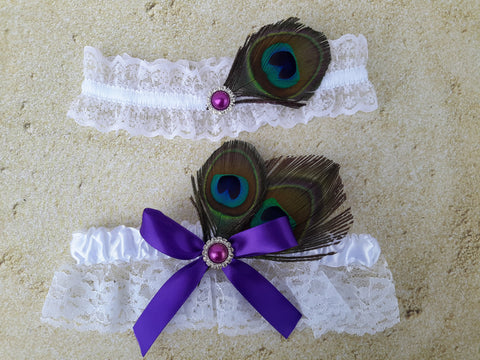Wedding accessories 2 pcs garter peacock