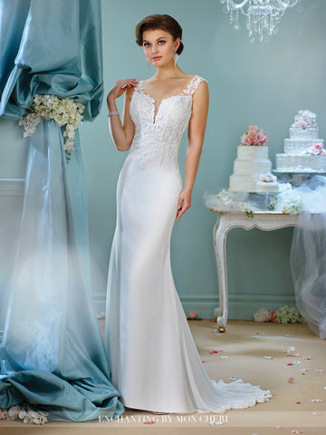 Designer lace satin wedding dress