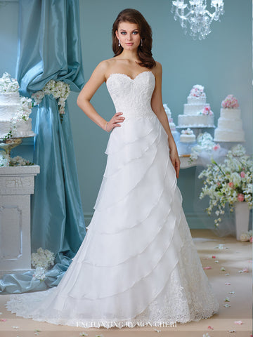 Designer chiffon A-line ball gown wedding dress