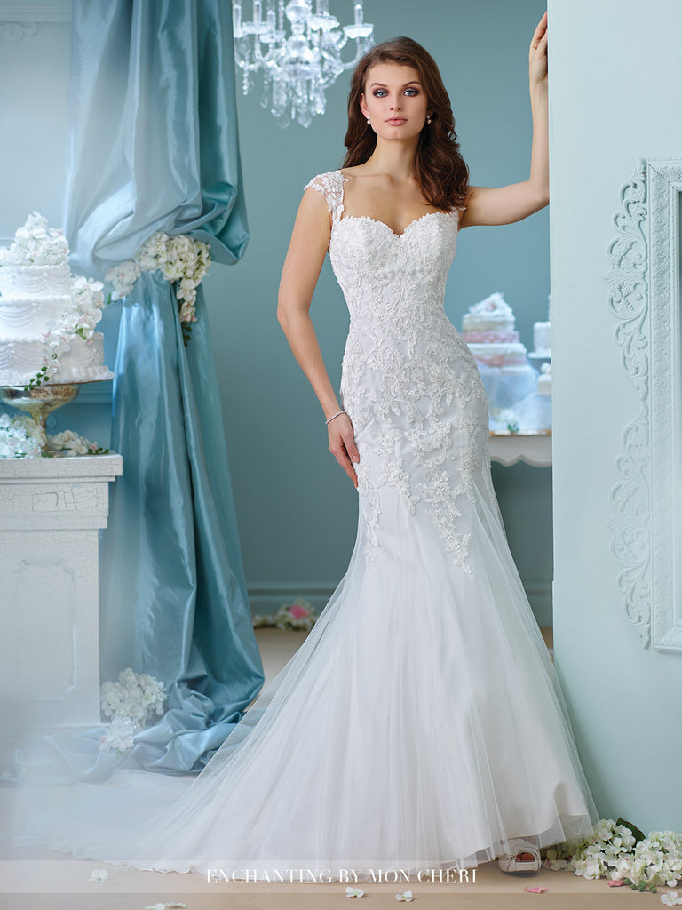 Designer lace fit & flare  gown wedding dress