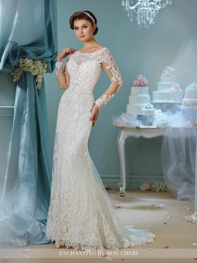 Designer lace long sleeve wedding dress