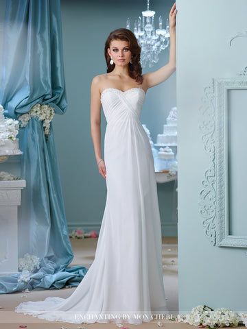 Designer lace chiffon A-line wedding dress