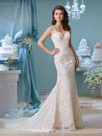 Designer lace fit & flare wedding dress