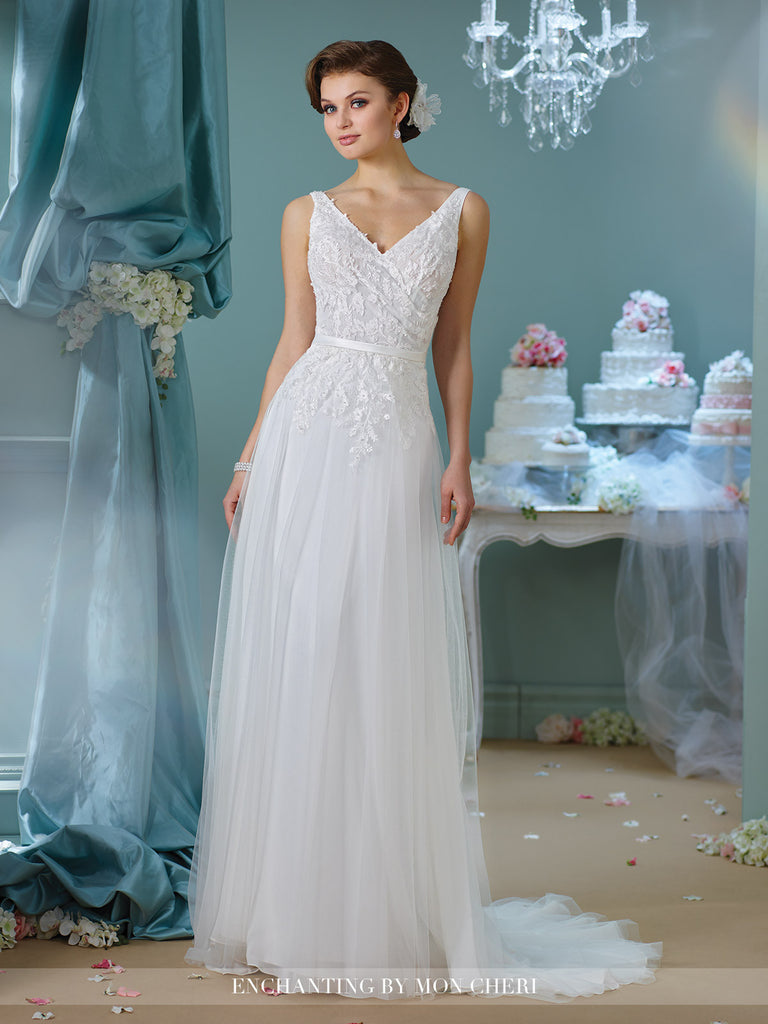 Designer lace tulle A-line ball gown wedding dress