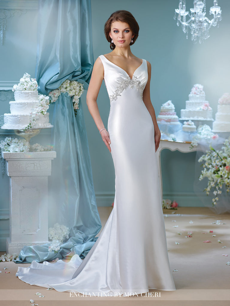 Designer lace satin fit & flare wedding dress