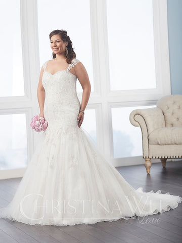 BEADED LACE Plus size trumpet wedding dress lace