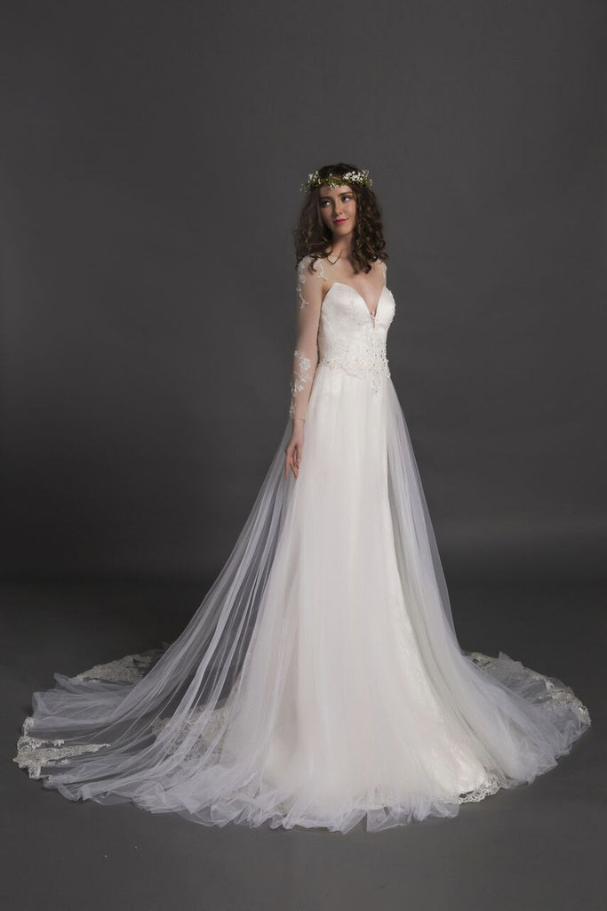 Designer Chic Nostalgia lace chiffon satin tulle A-line ball gown wedding dress