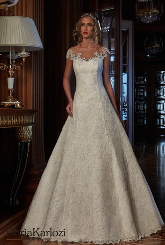 Lace satin wedding dress ball gown A-line
