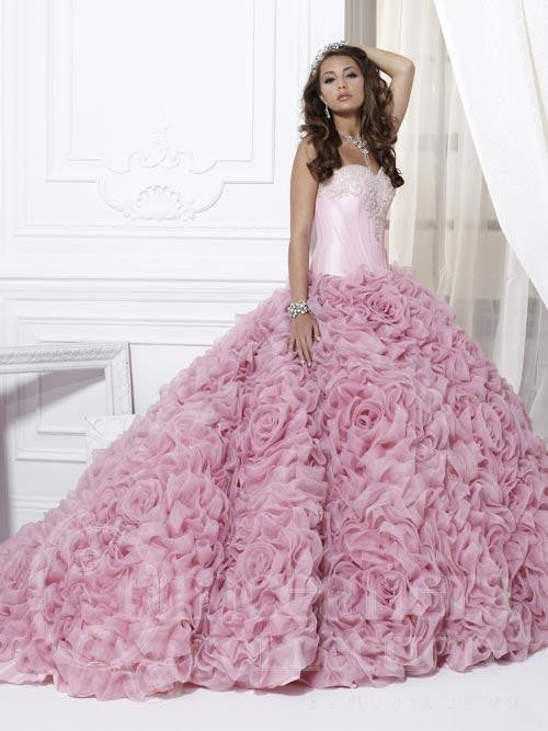Pink quinceanera sweet 16 gown long dress