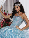 Quinceanera sweet 16 engagement ball gown dress blue