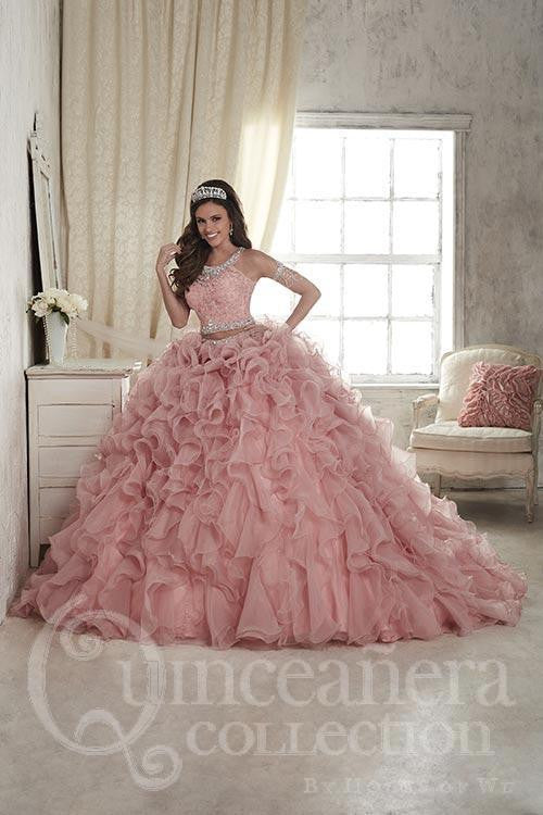 Coral pink sweet 16 quinceanera gown dress