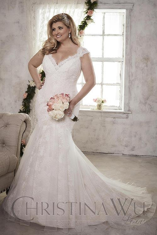 Lace Plus size wedding Dress lace mermaid trumpet ball gown