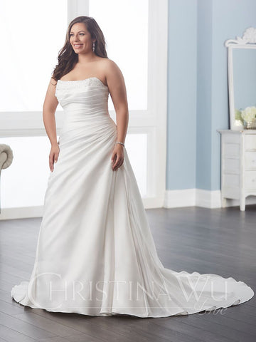 Satin size wedding dress A-Line ball gown