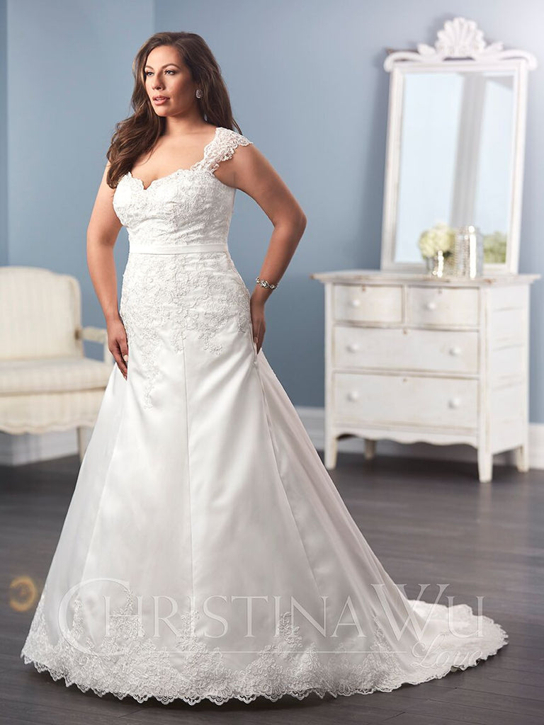 Satin wedding Dress lace  A-line ball gown