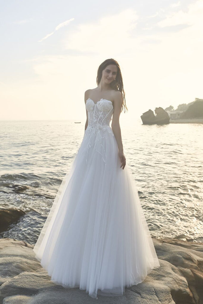 Chic Bohemian beach look lace chiffon satin A-line wedding dress