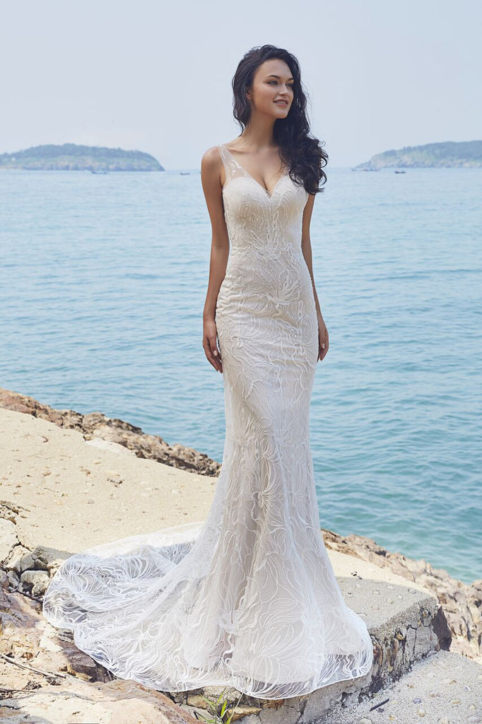 Chic Bohemian beach look lace chiffon satin fit & flare wedding dress