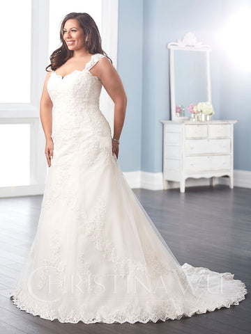 LACE Plus size wedding Dress lace A-Line ball gown