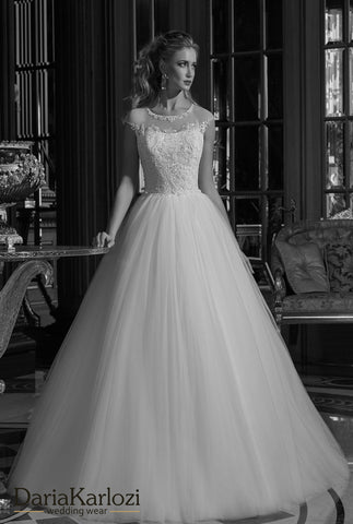 Ivory lace tulle rhinestones wedding dress ball gown A-Line