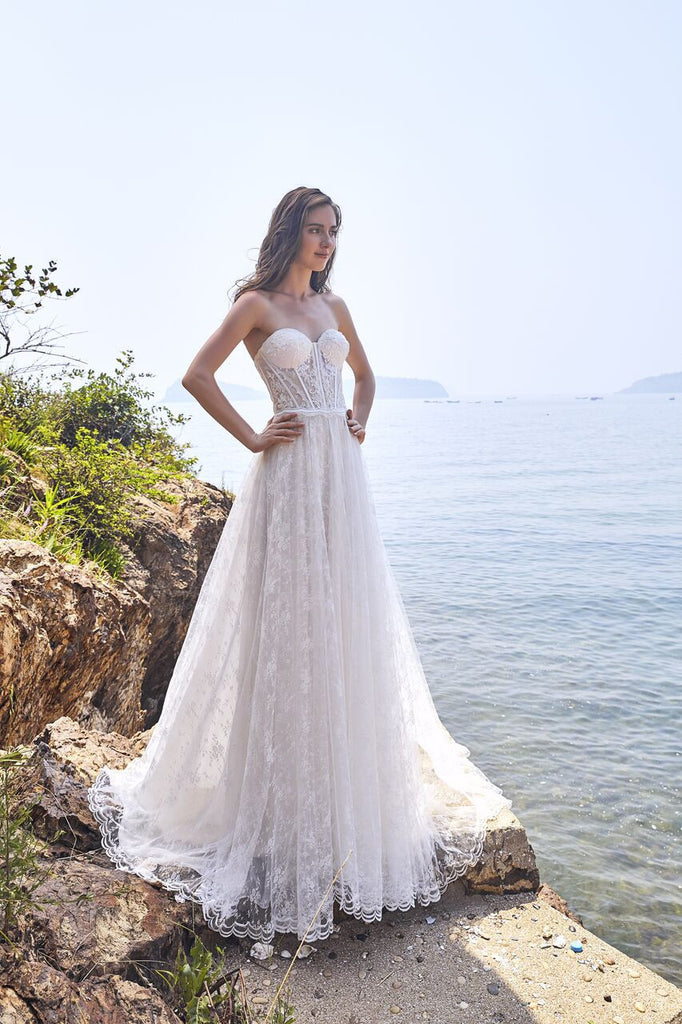 Chic Bohemian beach look lace chiffon satin A-line ball gown wedding dress