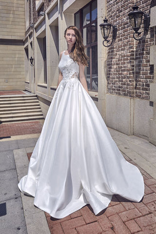 Designer Chic Bohemian beach look lace chiffon satin A-line wedding dress