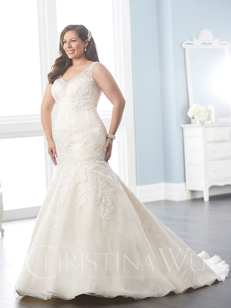 Beaded Lace Plus size wedding dress mermaid trumpet