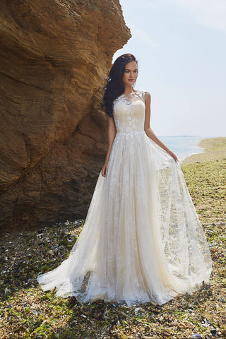 Designer Chic Bohemian beach look lace chiffon satin  wedding dress