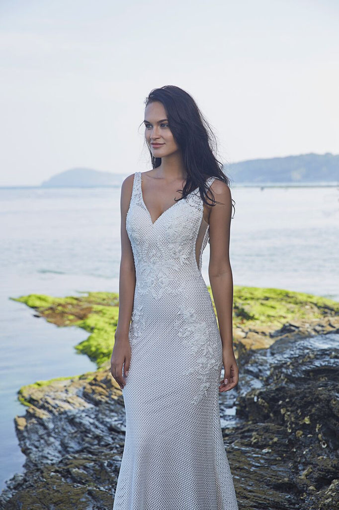 Chic Bohemian beach look lace chiffon satin wedding dress
