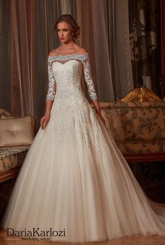Ivory lace wedding dress ball gown A-Line long sleeve