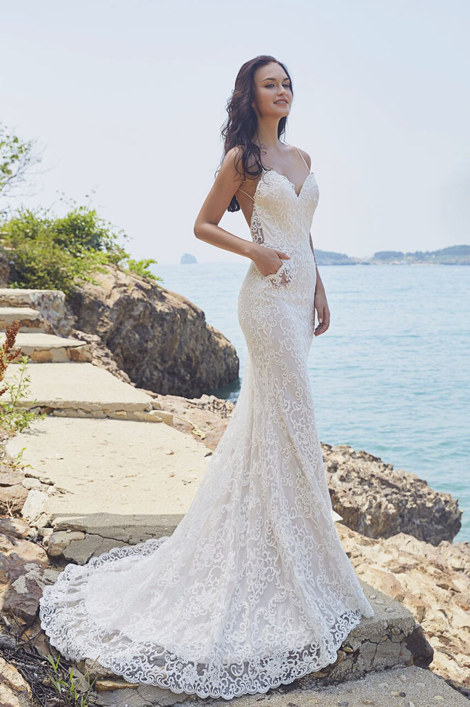 Chic Bohemian beach look lace satin wedding dress