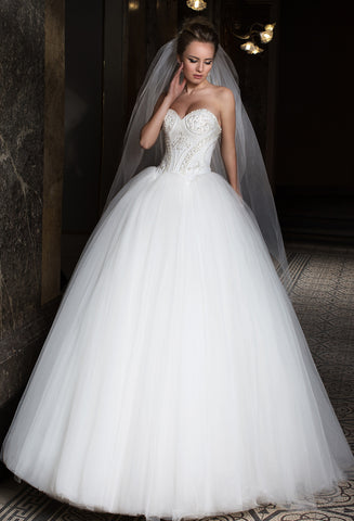 Lace BEADED tulle princess ball gown lace A-Line wedding dress..
