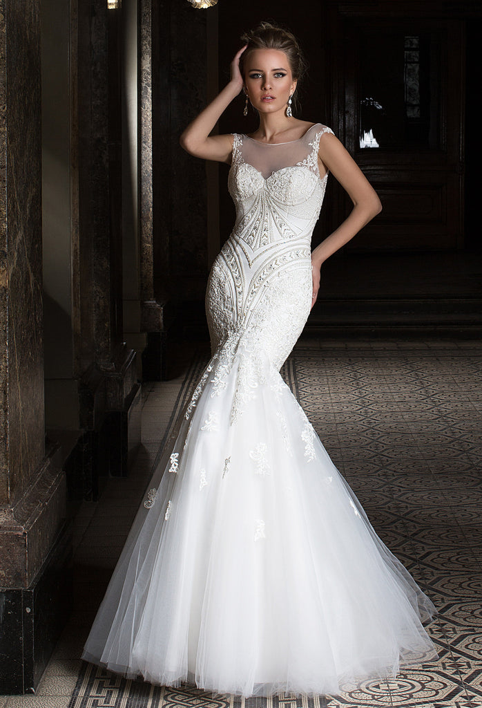 Lace and Tulle Mermaid Wedding Dress