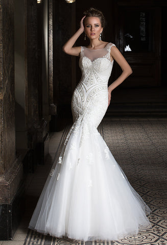 Lace tulle BEADED MERMAID wedding dress..