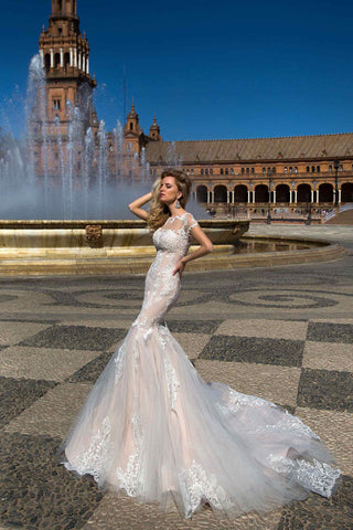 Beaded Lace Trumpet Mermaid Wedding Dress..