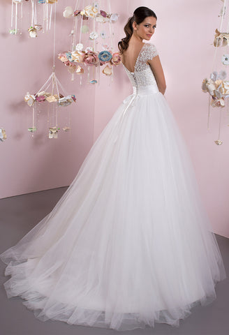 Lace tulle strapless short sleeve ivory princess ball gown lace A ...