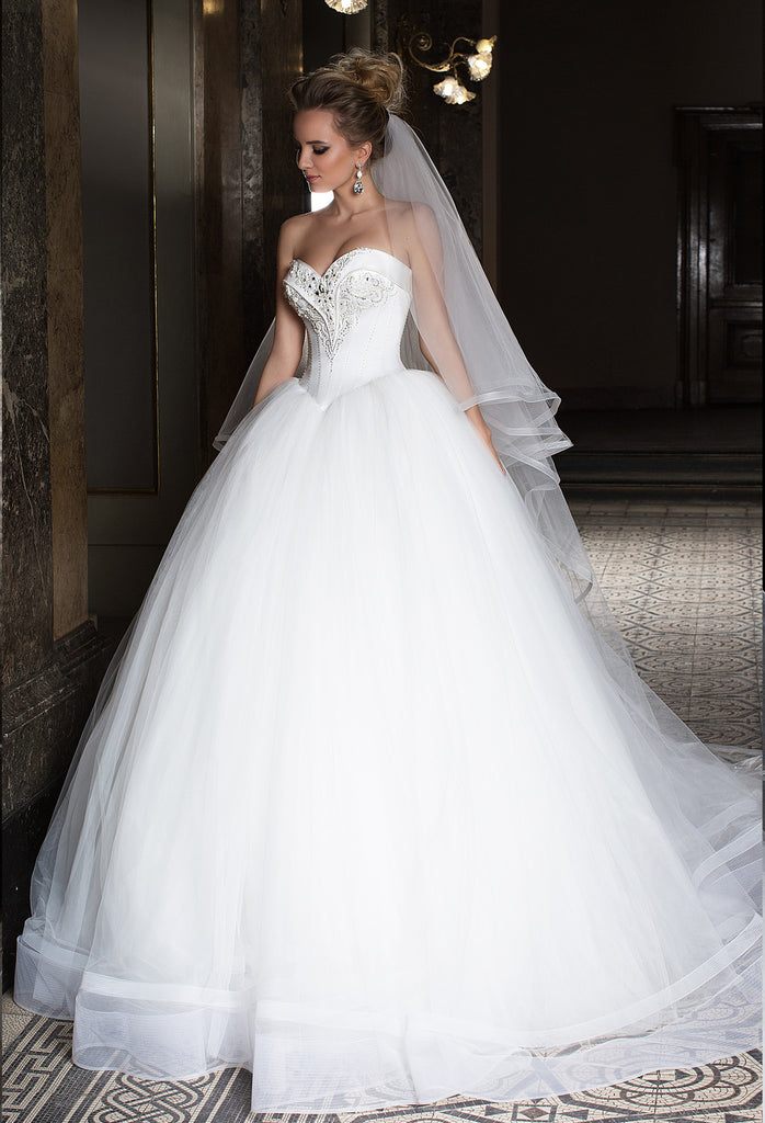 Lace tulle princess ball gown lace A-Line wedding dress..