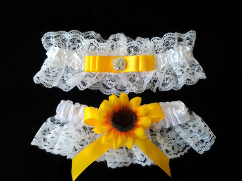 Wedding accessories 2 pcs garter sunflowers