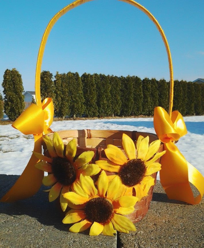 Wedding accessories flower girl basket sunflower