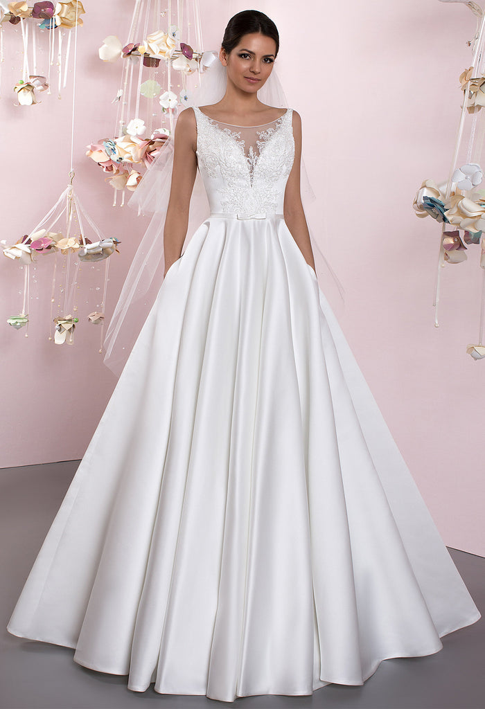 Lace princess ball gown lace A-Line wedding dress – Bela Bridal