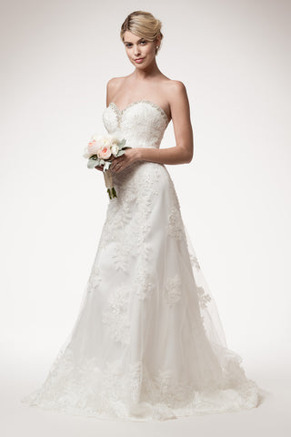 Wedding dress lace STRAPLESS, SWEETHEART, TRUMPET