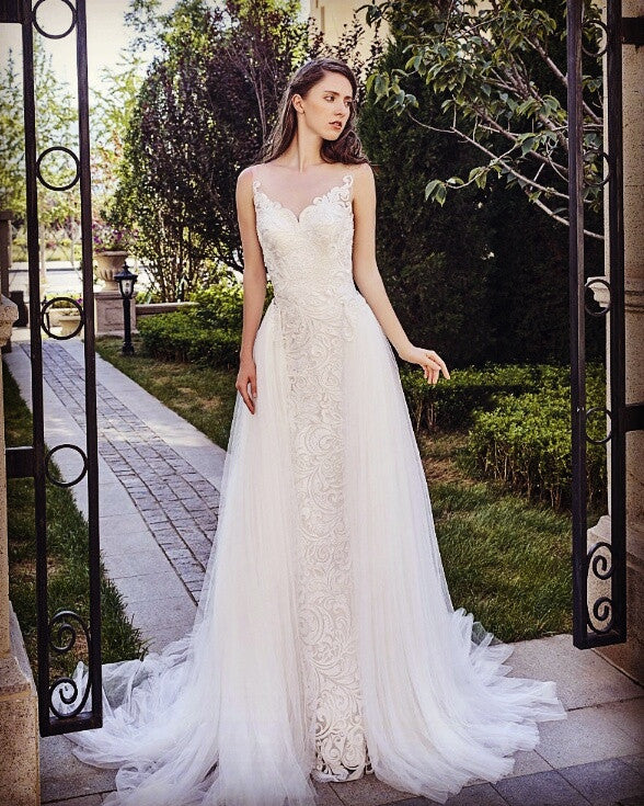 Designer Chic Nostalgia lace satin tulle A-line wedding dress